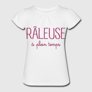 T-shirt blanc fille - Raleuse a plein temps