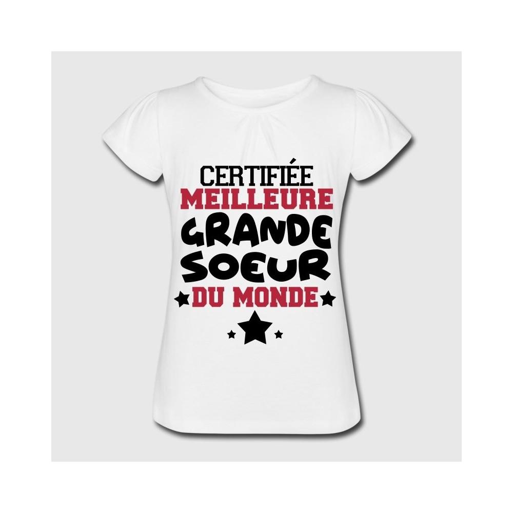 T-shirt blanc fille  - Certifié meilleur grande soeur du monde