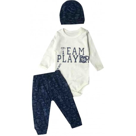 Ensemble bébé garçon body ML + pantalon + bonnet imprimé Team player - 3-12 mois