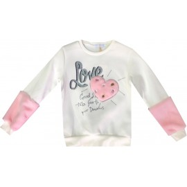 Sweatshirt fille manche empiecement fourrure 4-14 ans - LOVE