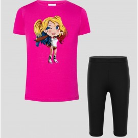 Ensemble tshirt et legging 3/4 floqué girl baseball