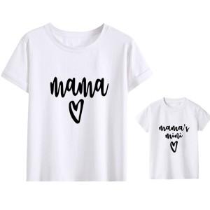 T-shirt mere et fils manches courtes, 100% coton imprimé mama et mamas mini