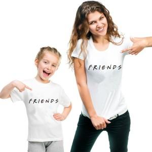 T-shirt mere et filles manches courtes, 100% coton imprimé - Friends