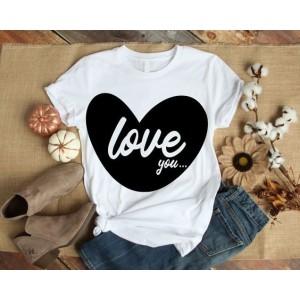 VALENTINE - T-shirt pour femmes manches courtes, 100% coton imprimé - love you
