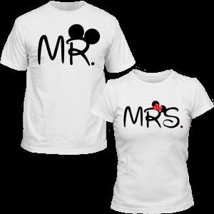 T-shirt pour femmes ou homme, 100% coton imprimé - MR ou MRS