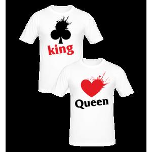T-shirt pour femmes ou homme, 100% coton imprimé -KING ou QUEEN