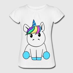 T-shirt blanc fille - Licorne patte bleu