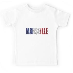 T-shirt enfant blanc - MARSEILLE BLEU BLANC ROUGE
