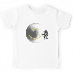 T-shirt enfant blanc - MOON SMILEY