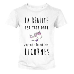 T-shirt blanc fille - La realité est trop dur , je me tire élévé des licornes