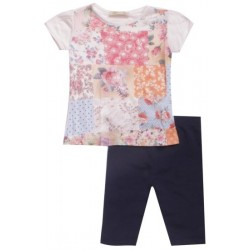 Set T-shirt fille tendance et legging navy coton