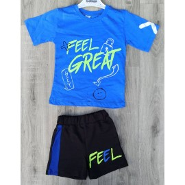 Ensemble garçon FEEL GREAT tshirt + short 3-7 ans