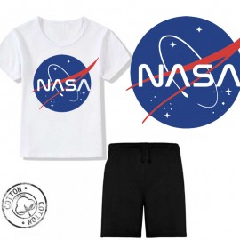 Ensemble garçon - T-shirt blanc + short en coton noir - NASA