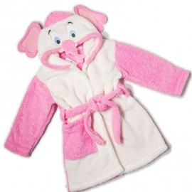 Peignoir eponge animal enfant 2-6 ans - elephant - rose/blanc