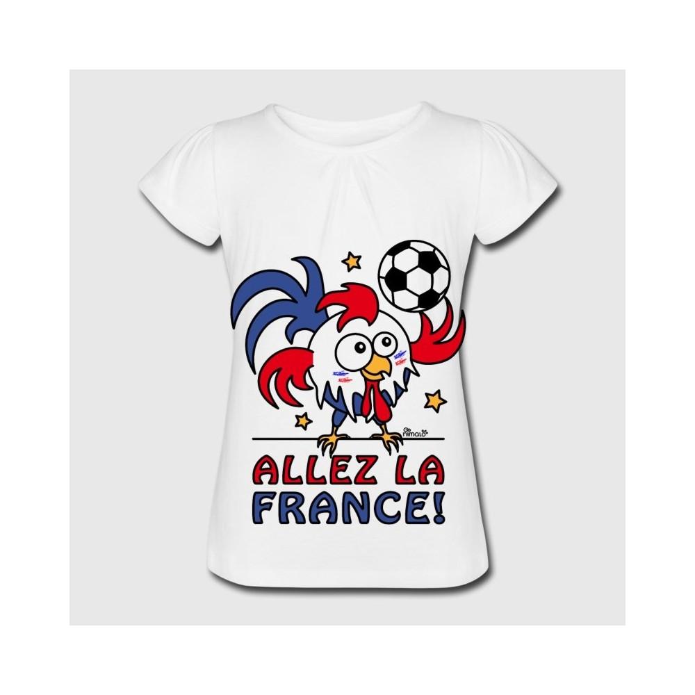 T-shirt enfant manche courte - Coq Gaulois Foot Allez La France