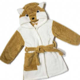 Peignoir eponge animal enfant 2-6 ans - renard - marron/blanc