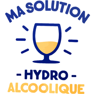 Adulte - T-shirt adulte coupe droite , humour covid - ma solution hydro-alcoolique