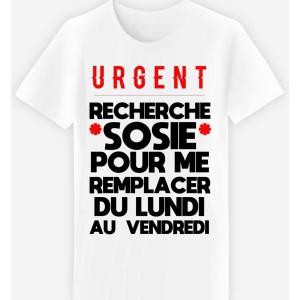 Adulte - T-shirt adulte coupe droite , humour - Urgent cherche sosie ...