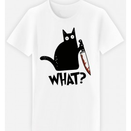 Adulte - T-shirt adulte coupe droite , humour - chat meurtrier