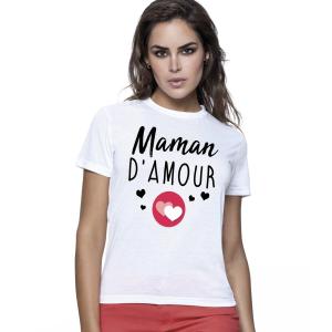 Femme - T-shirt pour manches courtes, 100% coton imprimé maman d'amour