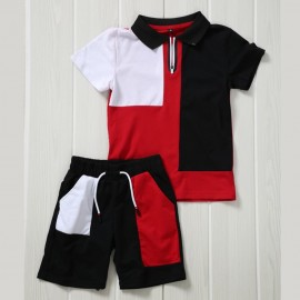 Ensemble sport polo + short - Noir-rouge-blanc