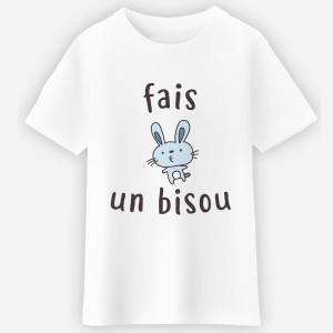 T-shirt blanc fille - Fais un bisou