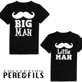 T-shirt adulte et enfant 100% coton- little man ...big man