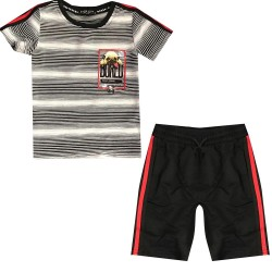 Ensemble sport Tshirt + short avec ecusson bull dog - Blanc