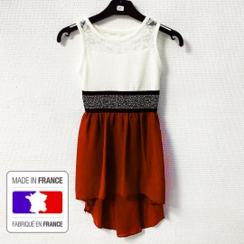 Robe Fille manche courte modele leanna - Rouge/blanc