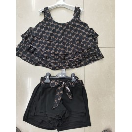 Ensemble top + short motif inspi - Noir