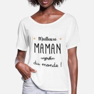 MAMAN - T-shirt pour manches courtes, 100% coton imprimé Meilleur maman du monde