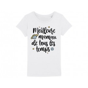 MAMAN - T-shirt pour manches courtes, 100% coton imprimé Meilleur maman de tout les temps