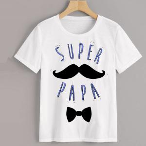Homme - T-shirt adulte coupe droite , papa - super papa