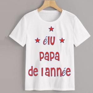 Homme - T-shirt adulte coupe droite , papa - elu papa de l'année