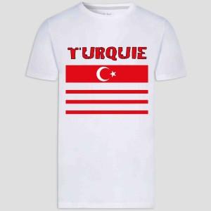 T-shirt adulte et enfant coupe droite 100% coton - Turquie euro 2021