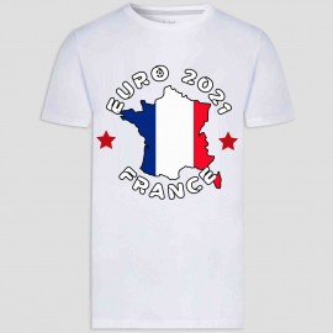 T-shirt adulte et enfant coupe droite 100% coton - France euro 2021