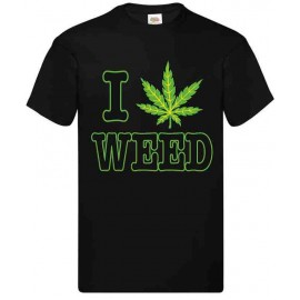 T-shirt adulte coupe droite 100% coton - I LOVE WEED