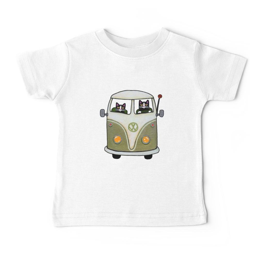 Tshirt bébé - Deux chat dans un bus vert