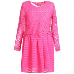 Robe fille top manches longues dentelle- jupe à rayures - Fuschia