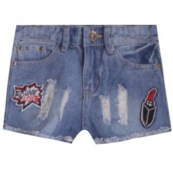 Short en jean pour fille - fashion patch rouge à lèvre