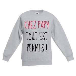 sweat-shirt enfant imprimé chez papy tout est permis
