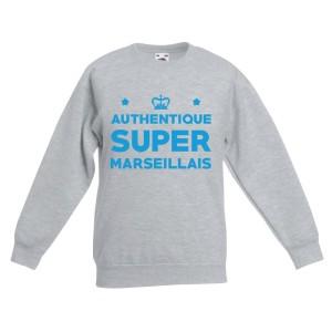 Sweat-shirt enfant molletonné 80% coton - Authentique supporter marseillais