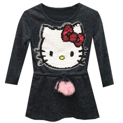 Pull tunique enfant fille a sequin tete chat kity - Marine