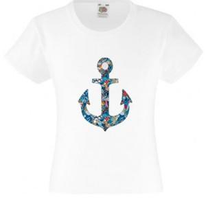 T-shirt pour fille manches courtes - Ancre marine Modèle Mimi