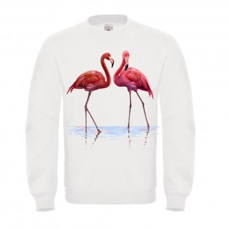 Sweatshirt  enfant blanc - Flamand rose modele 2