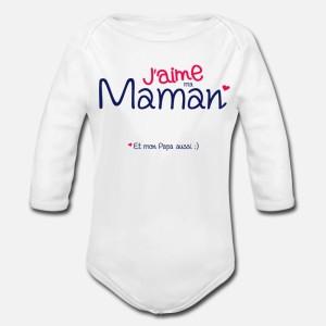 BODY BÉBÉ MIXTE MANCHES LONGUE - J AIME MA MAMAN...