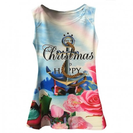 Robe Fille sans manches Blanche chistmas
