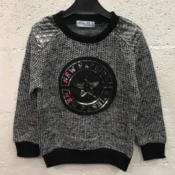 Sweat shirt enfant molletonné col rond appliqué écusson New fashion