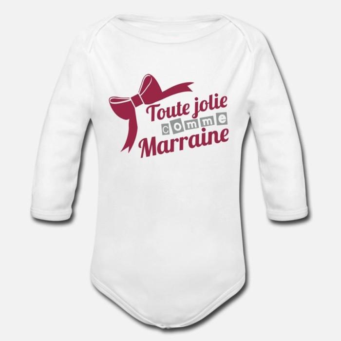 BODY BÉBÉ MIXTE MANCHES LONGUE - TOUTE JOLIE COMME MARRAINE