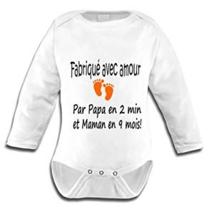 BODY BÉBÉ MIXTE MANCHES LONGUE - FABRIQUE AVEC AMOUR....
